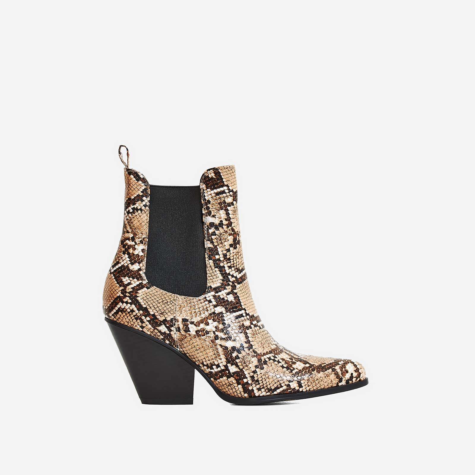 cedd3b65b22 Camille Western Ankle Boot In Nude Snake Print Faux Leather