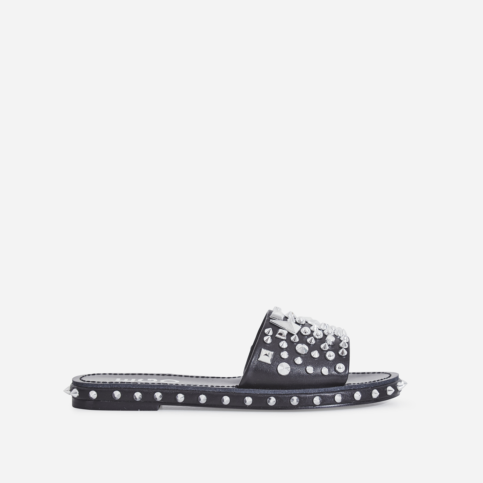 Toni Studded Detail Slider In Black Faux Leather