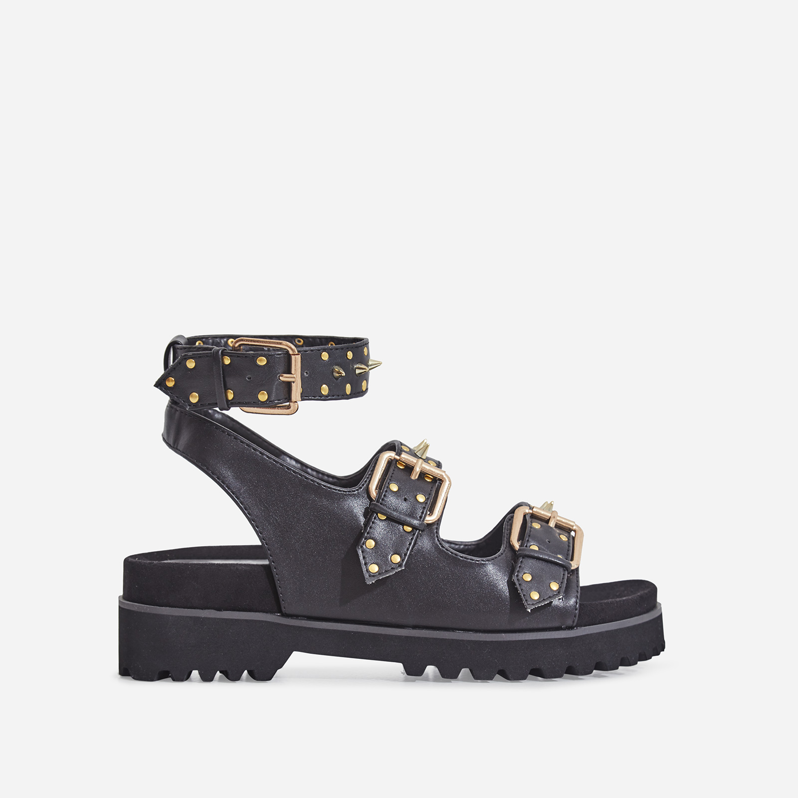 Elva Studded Detail Chunky Sole Sandal In Black Faux Leather
