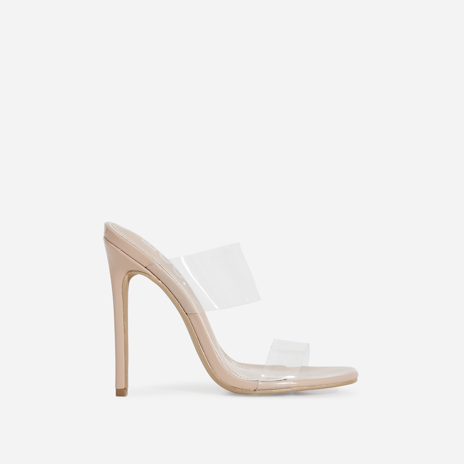 Charlize Perspex Square Toe Heel Mule In Nude Patent