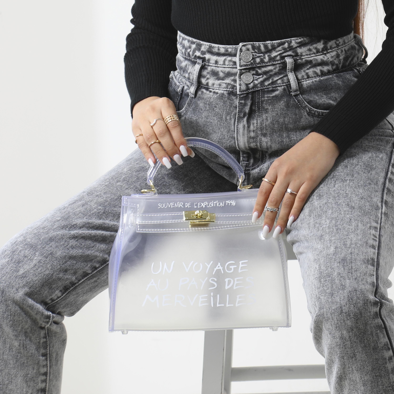 Graffti Detail Perspex Grab Bag In Clear