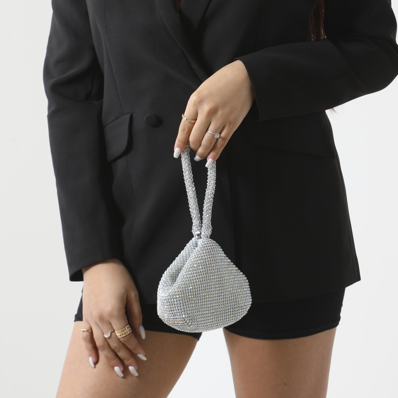 Mini Grab Bag In Silver Diamante