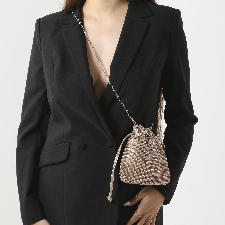 Cross Body Bag In Rose Gold Diamante