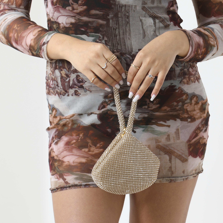 Mini Grab Bag In Rose Gold Diamante