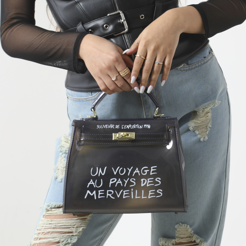 Graffiti Detail Perspex Grab Bag In Black