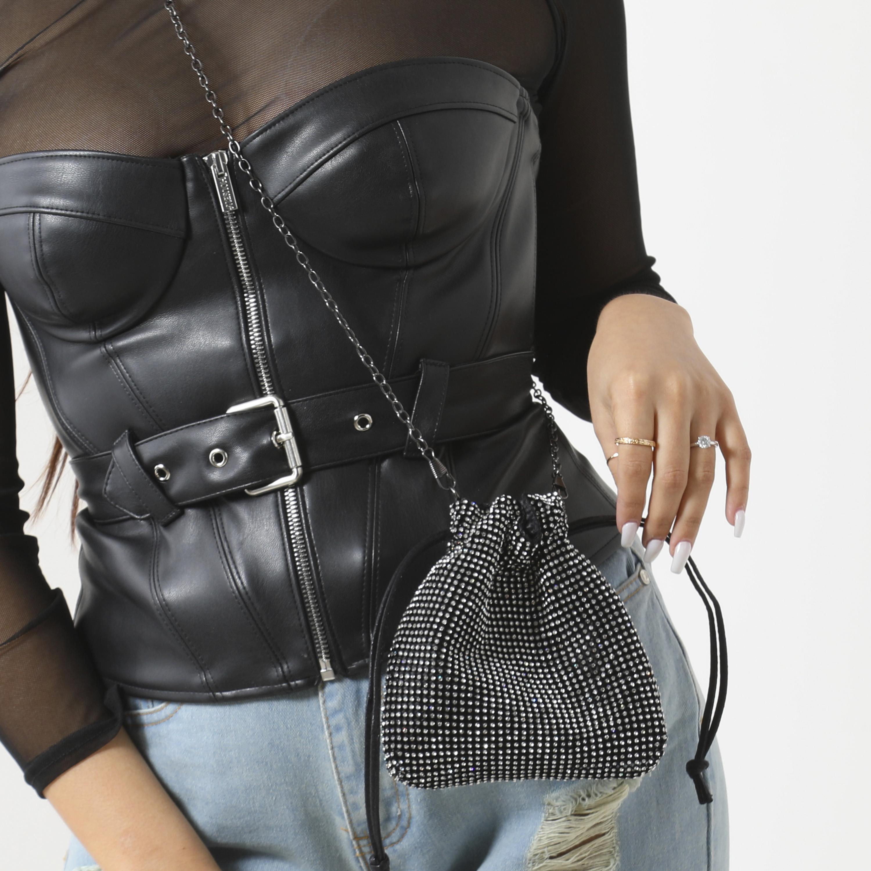 Cross Body Bag In Black Diamante