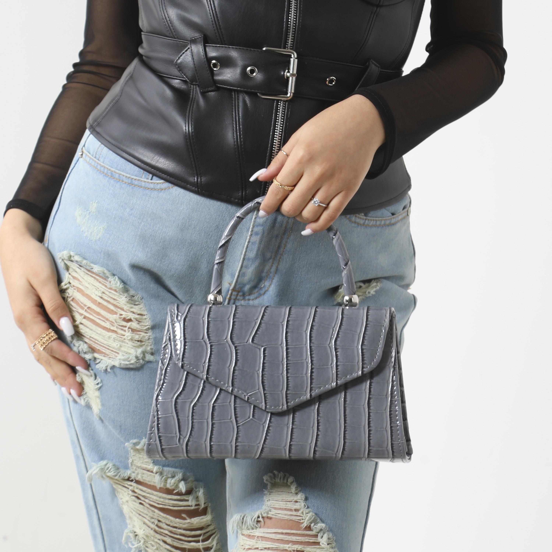 Chain Detail Boxy Handbag In Grey Croc Print Patent