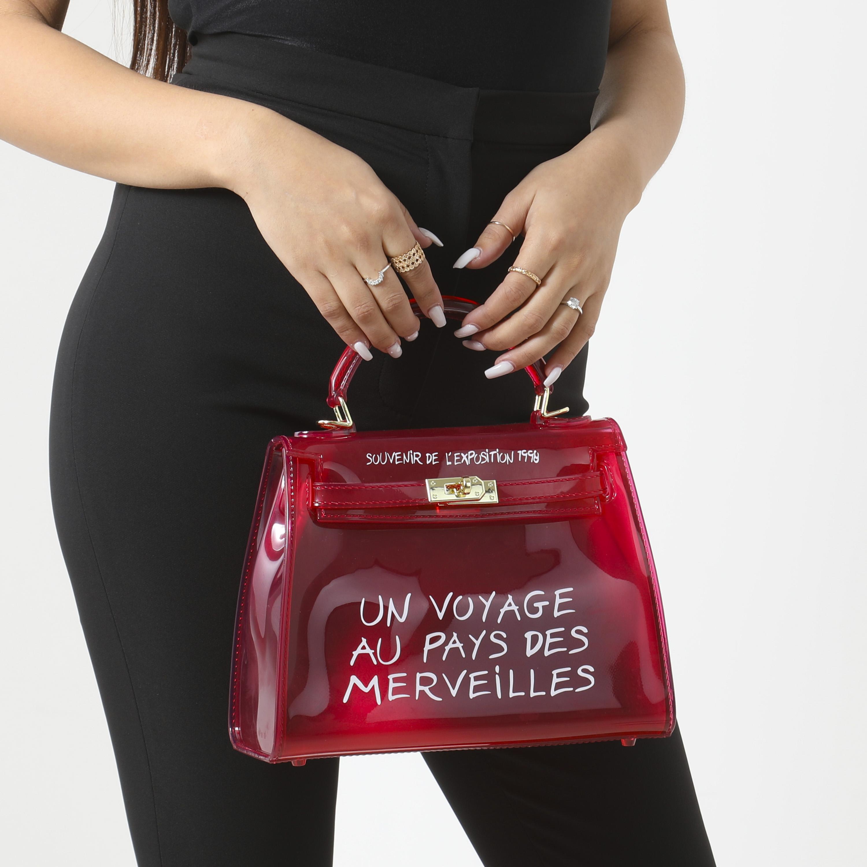Graffiti Detail Perspex Grab Bag In Red