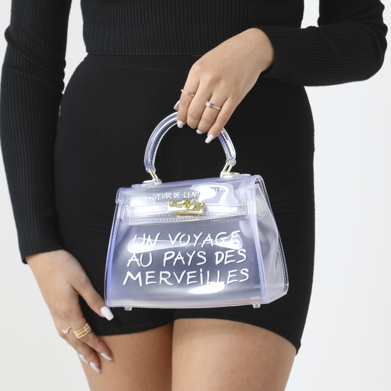 Graffiti Detail Perspex Mini Bag In Clear