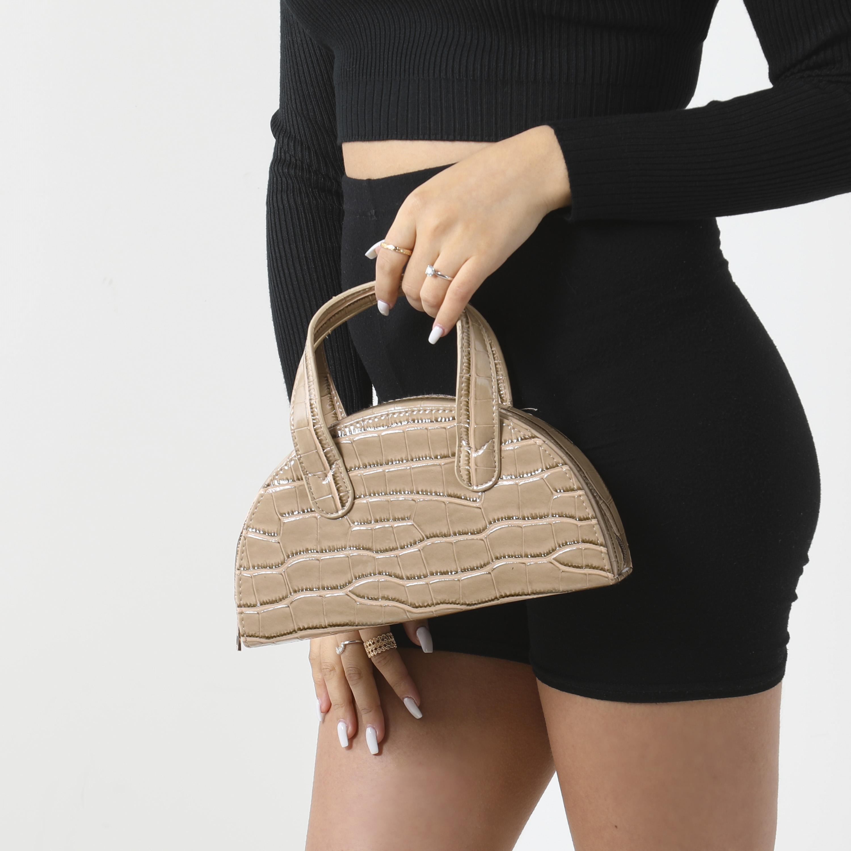 Half Circle Grab Bag In Camel Croc Print Faux Leather
