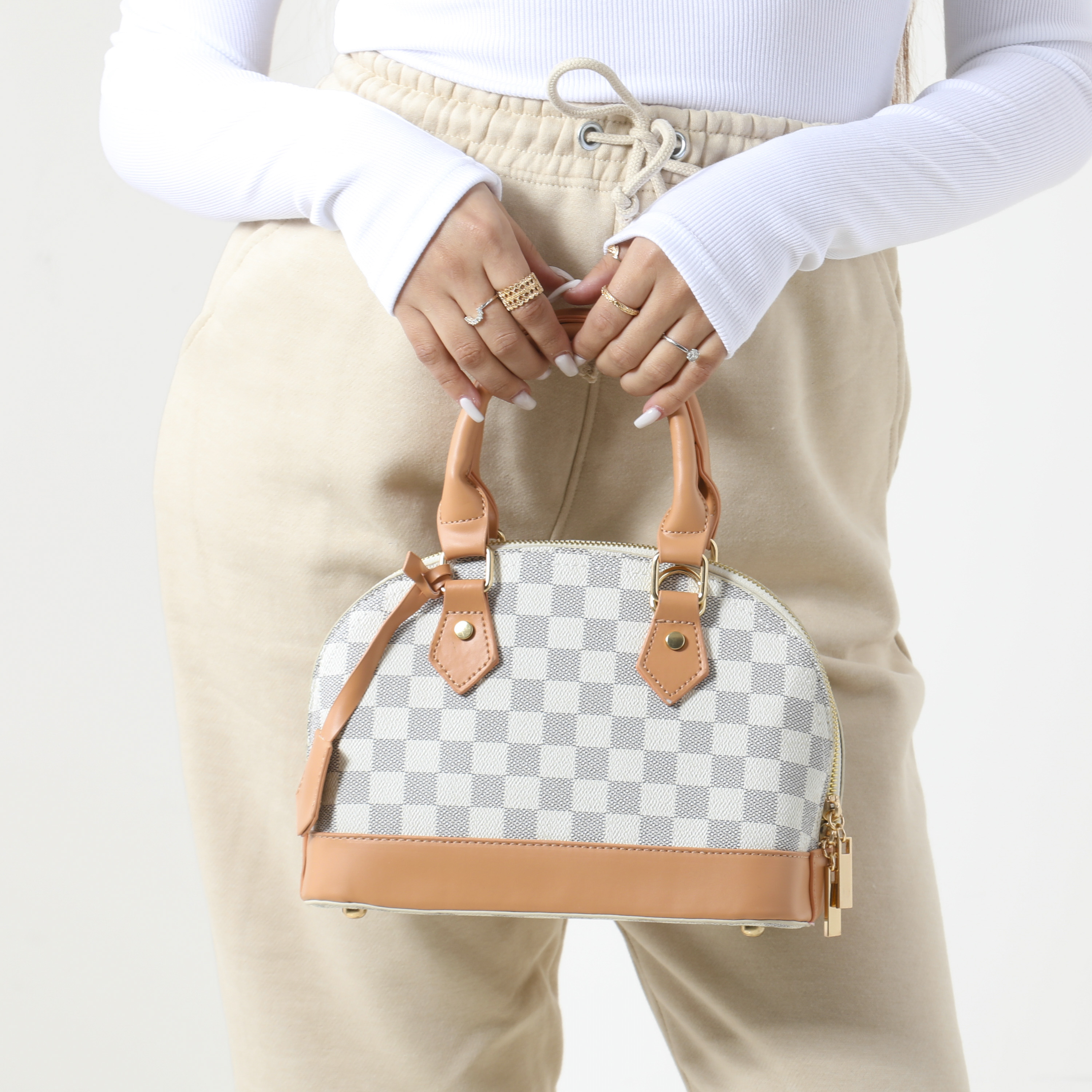 Checked Oval Handbag In Nude Faux Leather