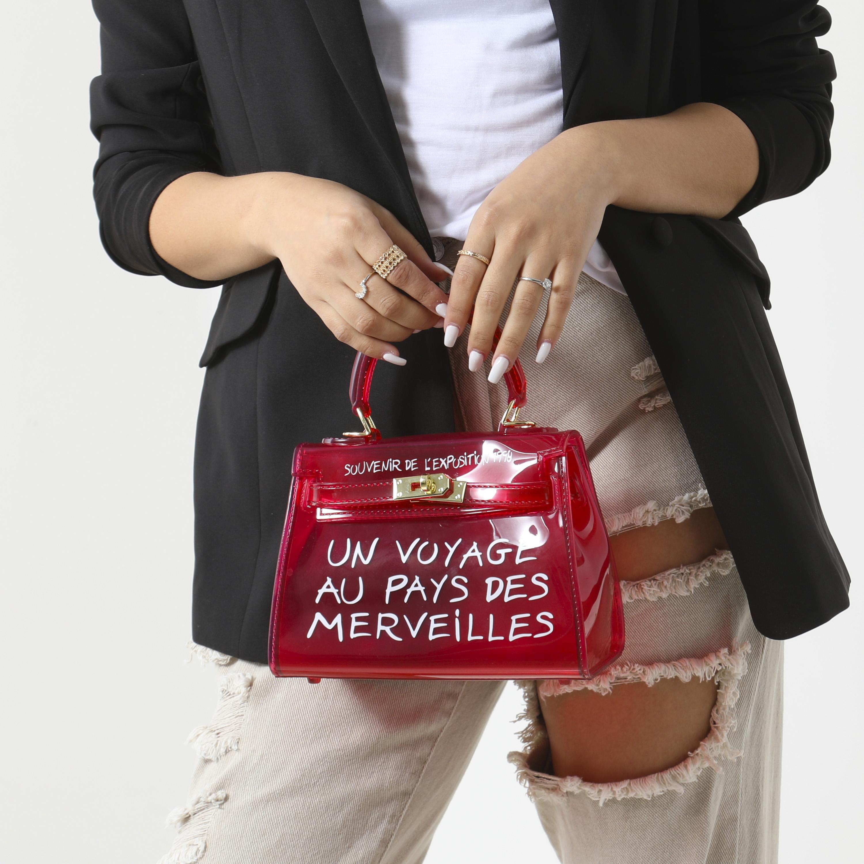 Graffiti Detail Perspex Mini Bag In Red