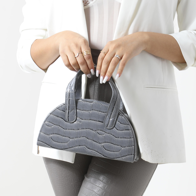 Half Circle Grab Bag In Grey Croc Print Faux Leather