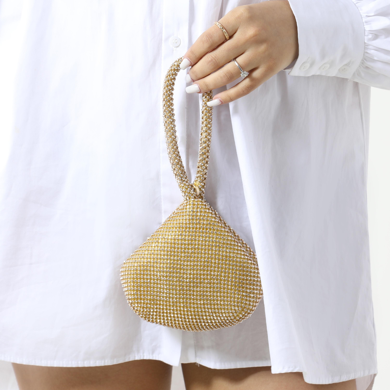Mini Grab Bag In Gold Diamante