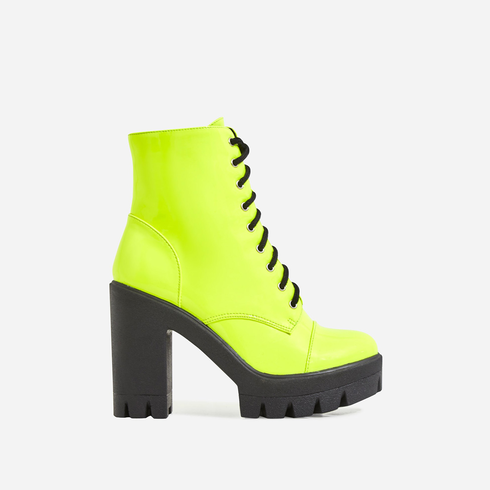 Lucky Lace Up Heeled Ankle Biker Boot In Yellow Faux Leather