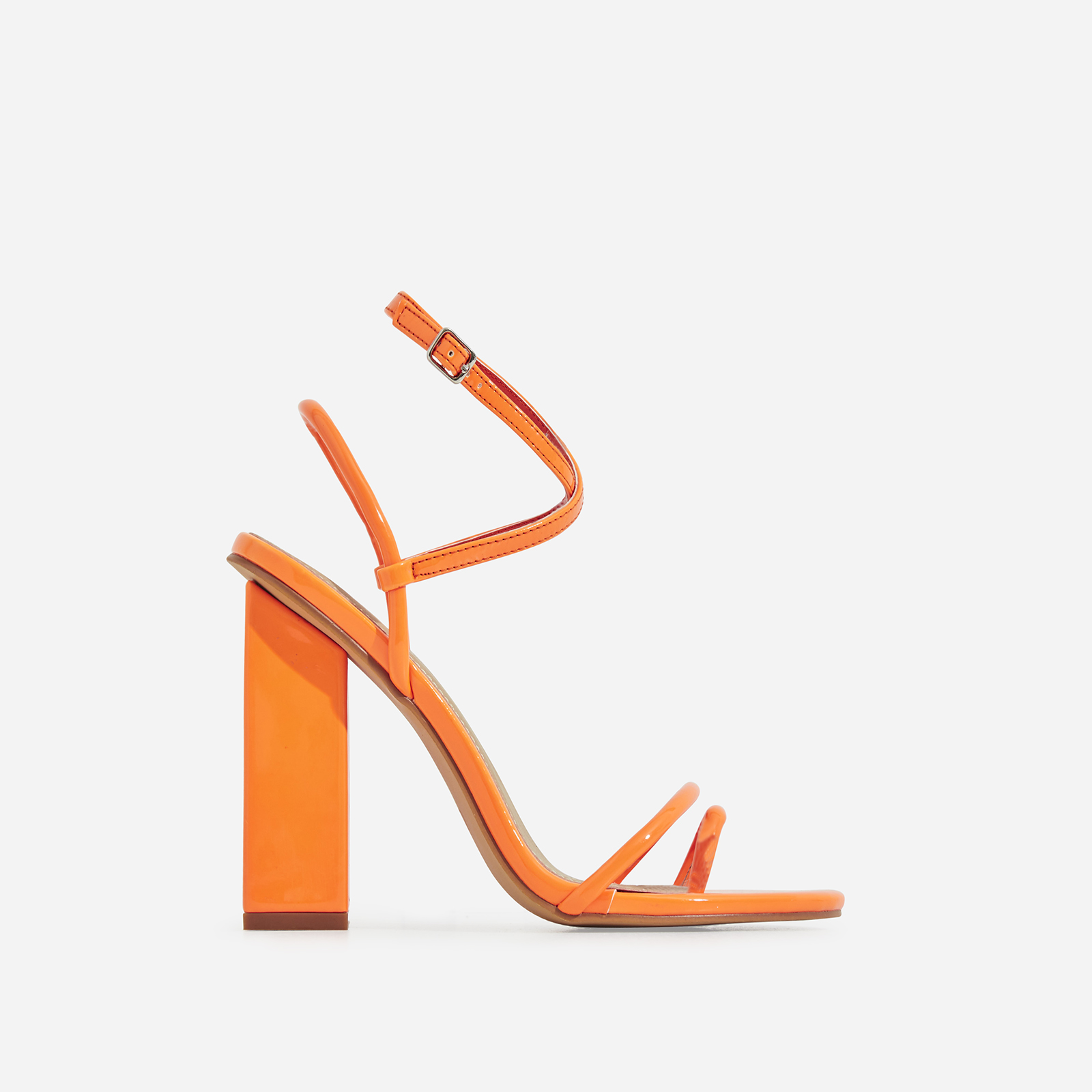 Bello-Bee Toe Strap Block Heel In Orange Patent