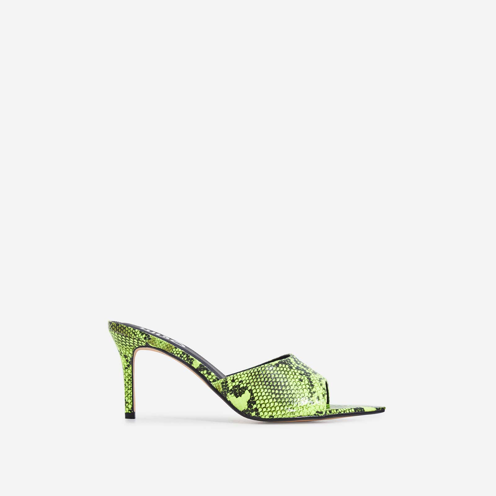 Sansa Pointed Peep Toe Heel Mule In Neon Yellow Snake Print Faux Leather