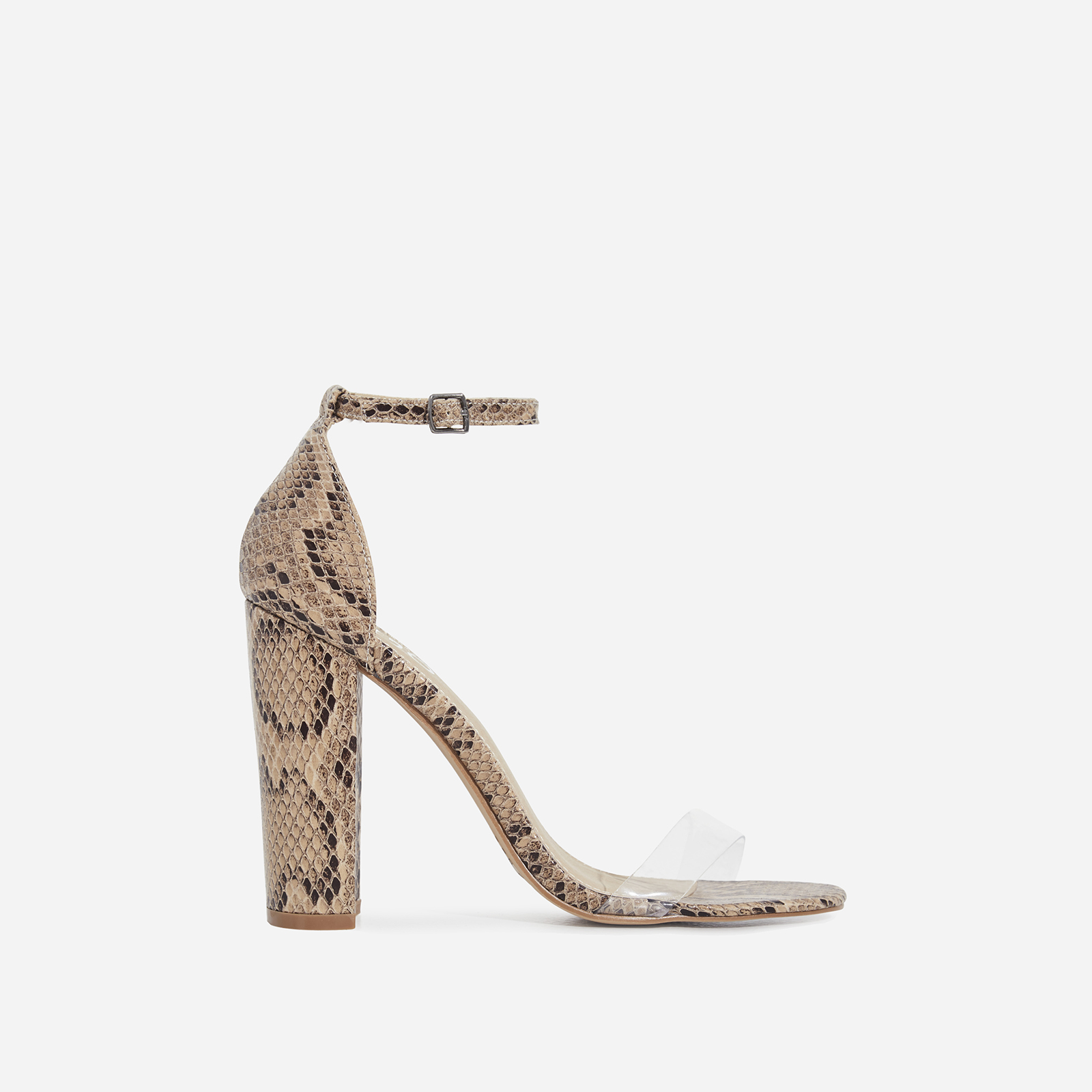 3b3d75426 Sara Perspex Block Heel In Nude Snake Print Faux Leather