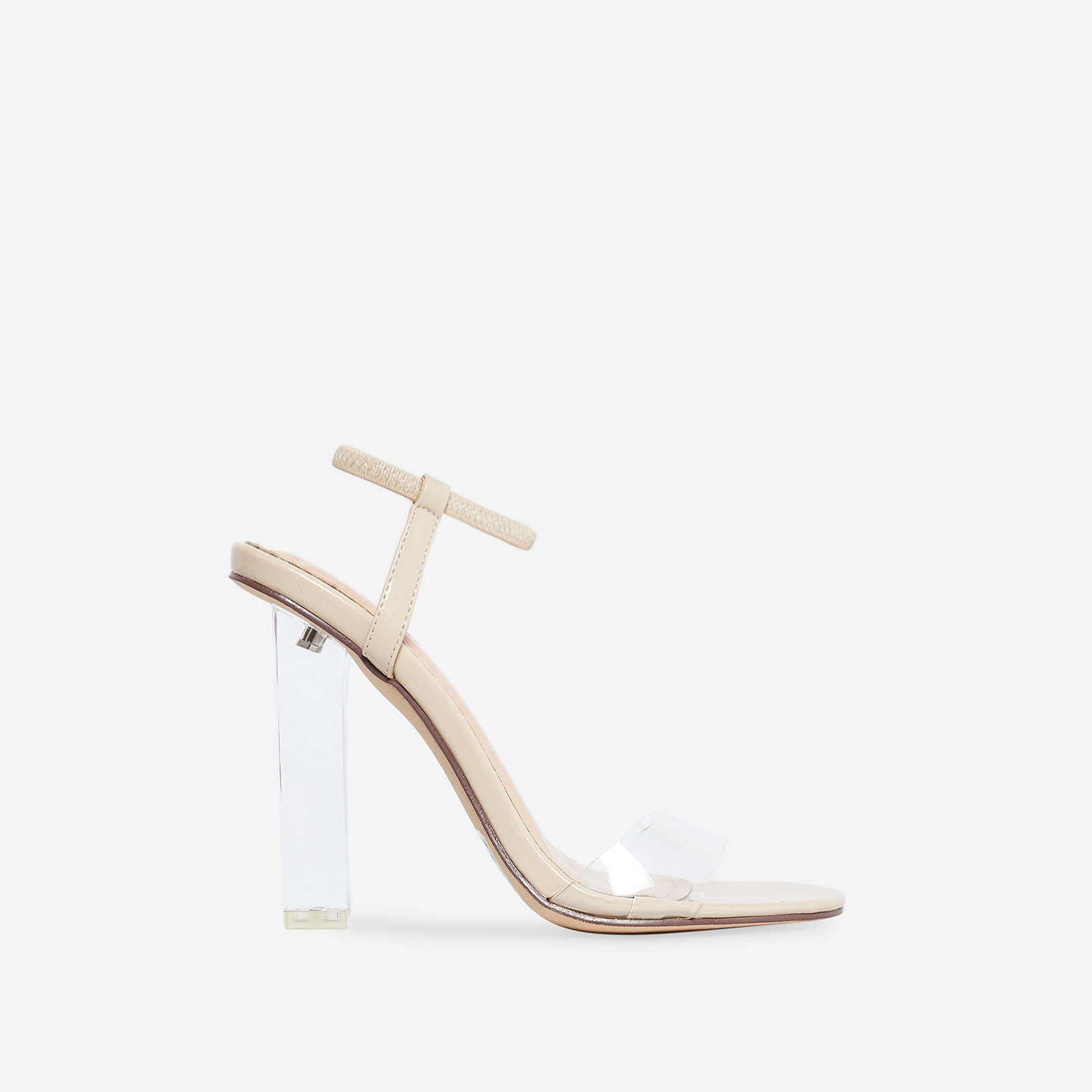 Scorpio Barely There Perspex Block Heel In Nude Patent