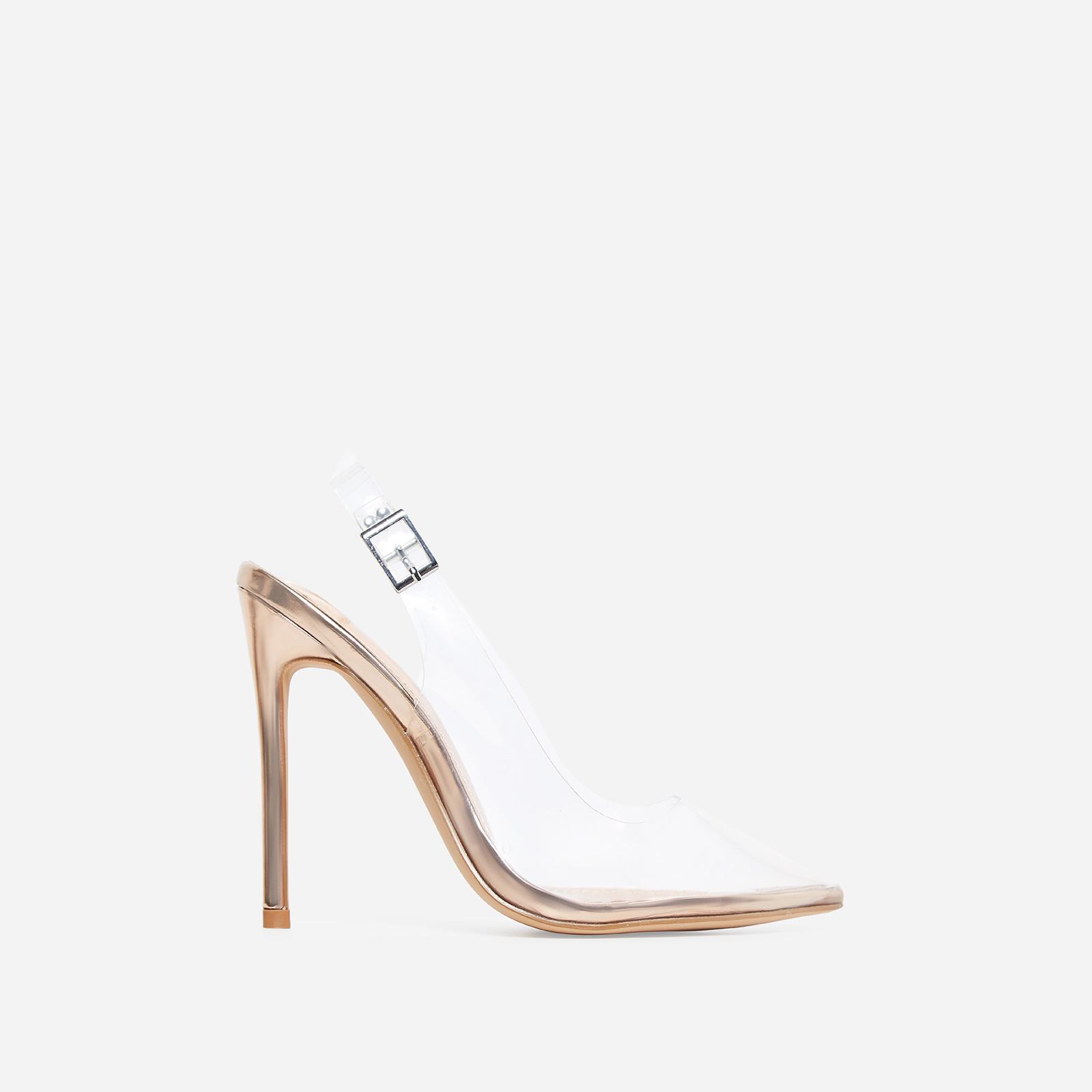 Seamless Perspex Heel In Rose Gold Patent