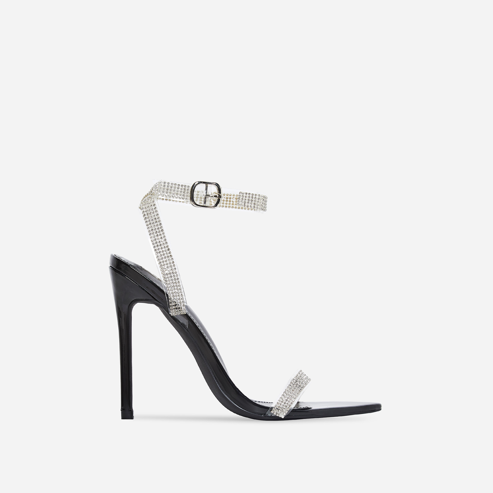 String Diamante Pointed Toe Heel In Black Patent