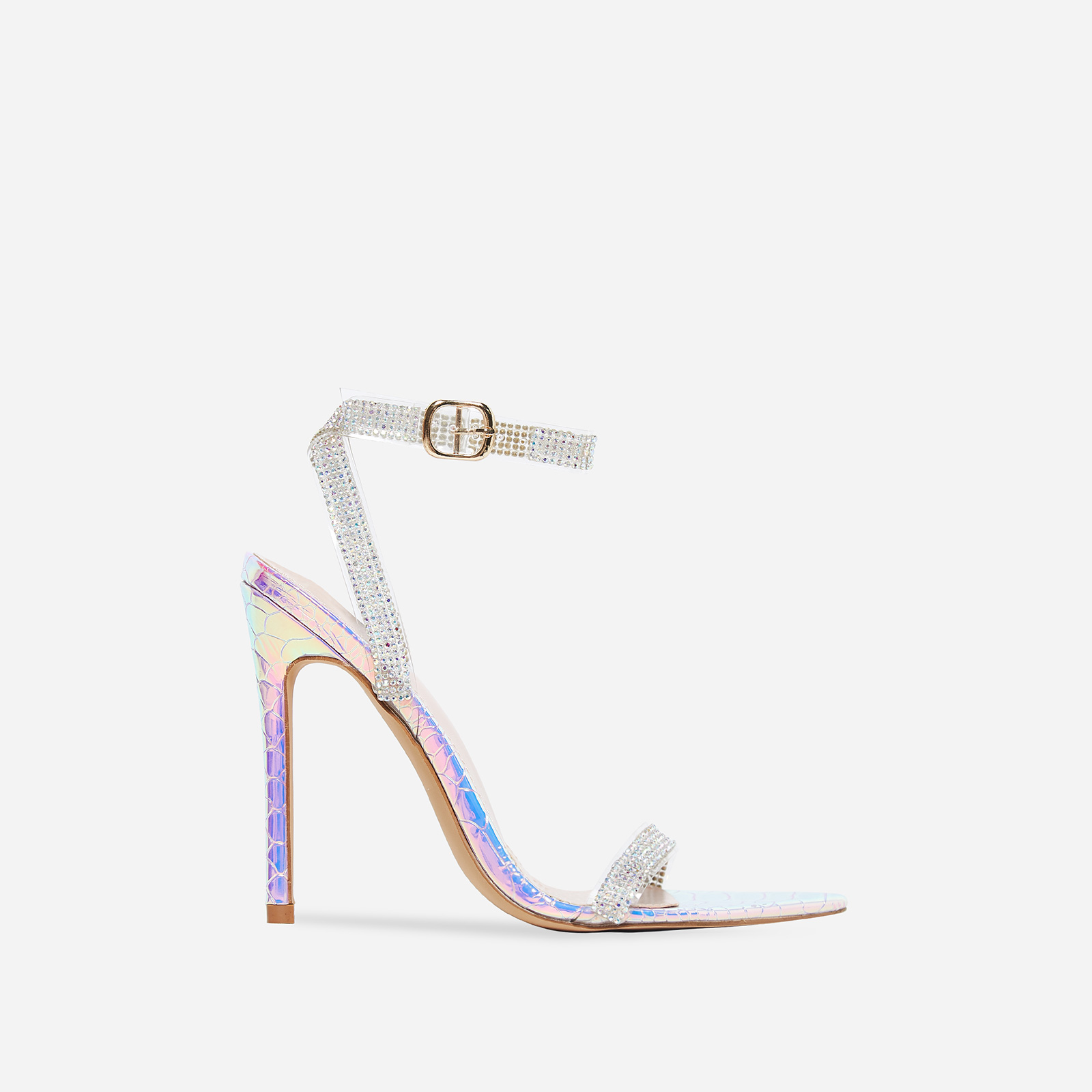 String Diamante Pointed Toe Heel In Silver Snake Print Faux Leather