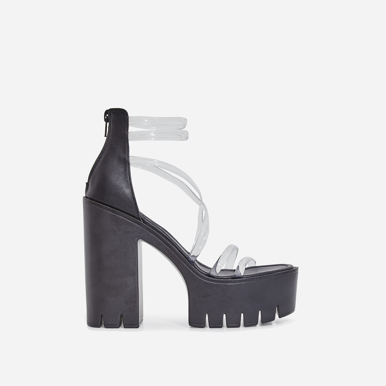 Shiloh Perspex Platform Block Heel In Black Faux Leather