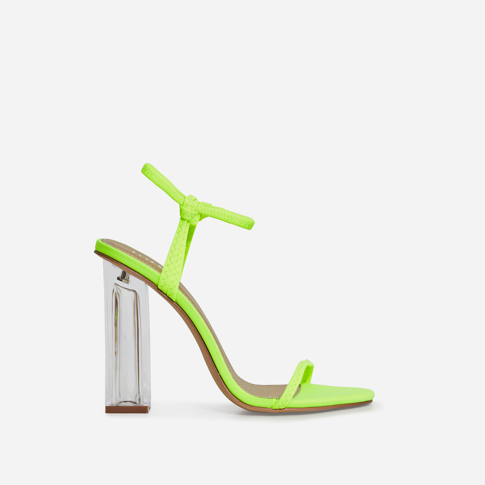 Lemon Barely There Perspex Block Heel In Lime Green Lycra