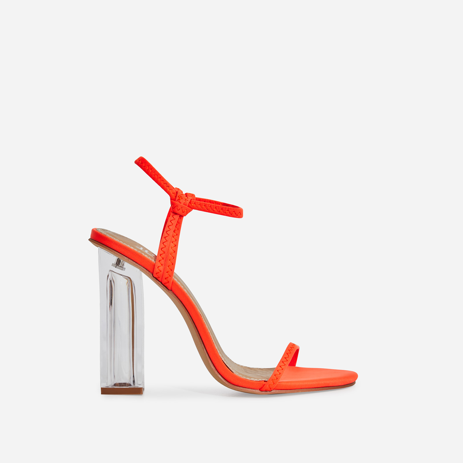 Lemon Barely There Perspex Block Heel In Neon Orange Lycra