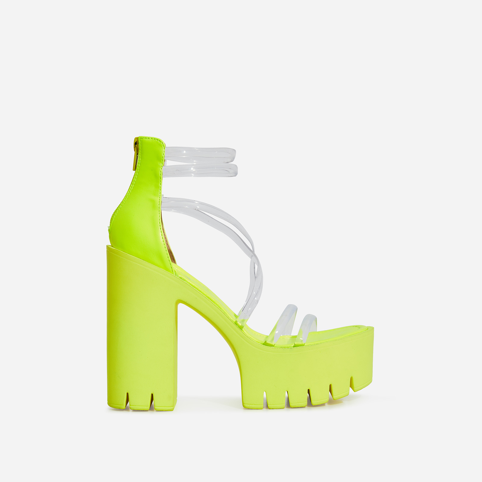 Shiloh Perspex Platform Block Heel In Lime Green Faux Leather