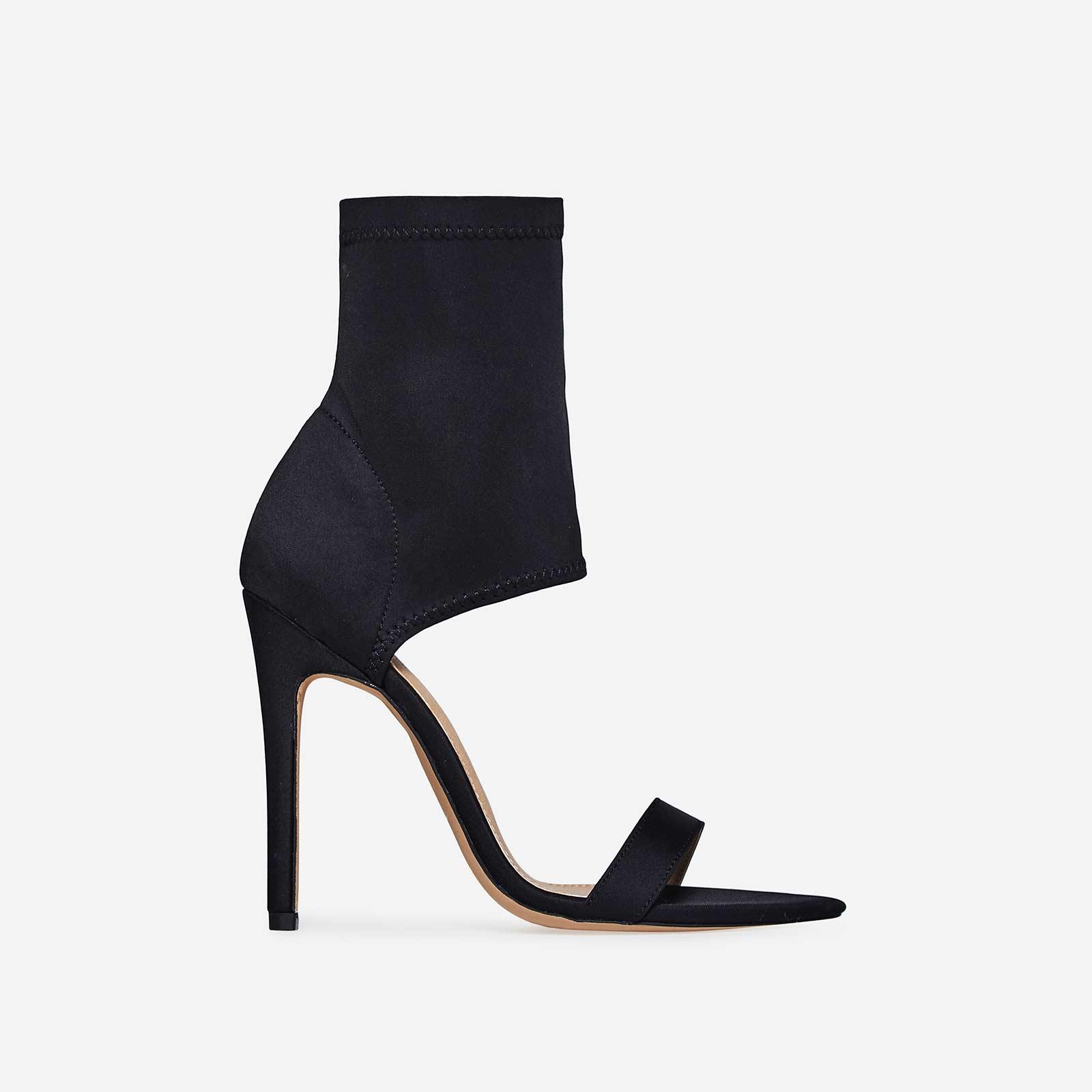 Stassi Pointed Cuff Heel In Black Lycra