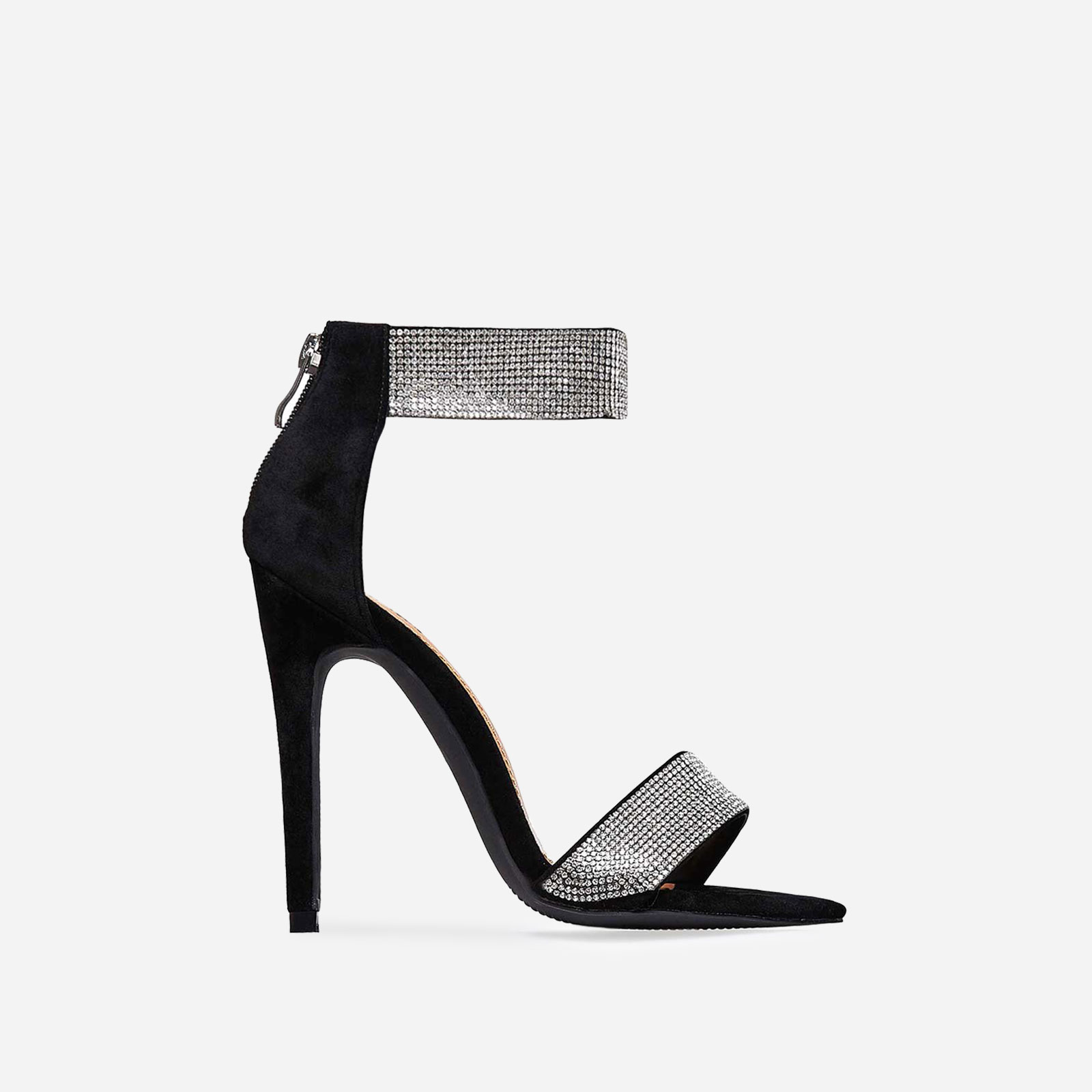 Sienna Crystal Strap Heel In Black Faux Suede