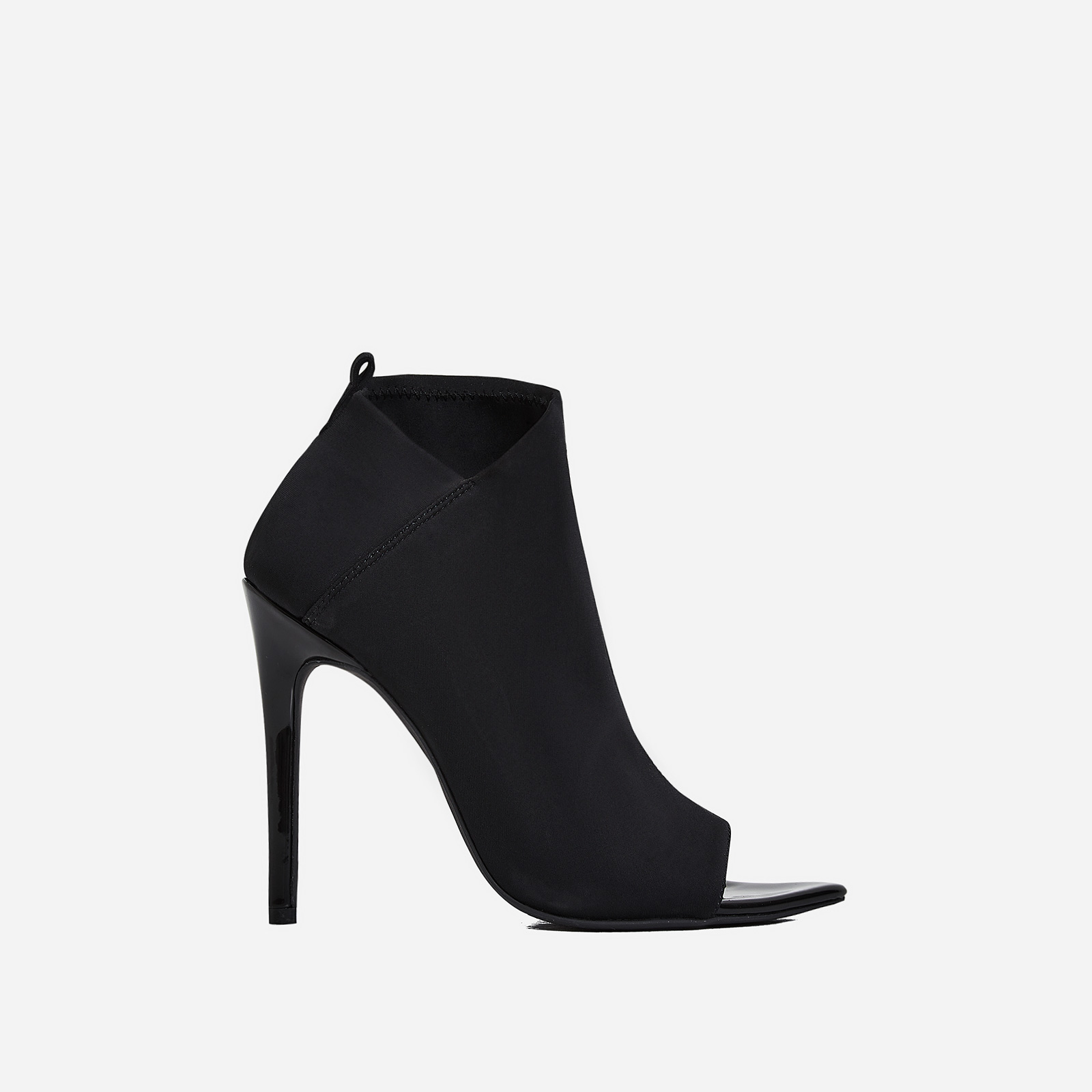 Silva Pointed Peep Toe Ankle Sock Boot In Black Lycra