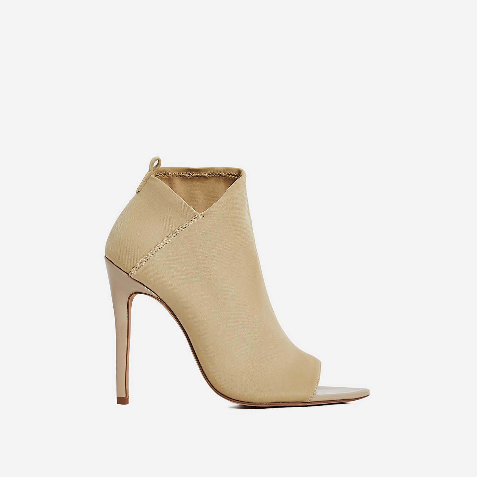 Silva Pointed Peep Toe Ankle Sock Boot In Nude Lycra