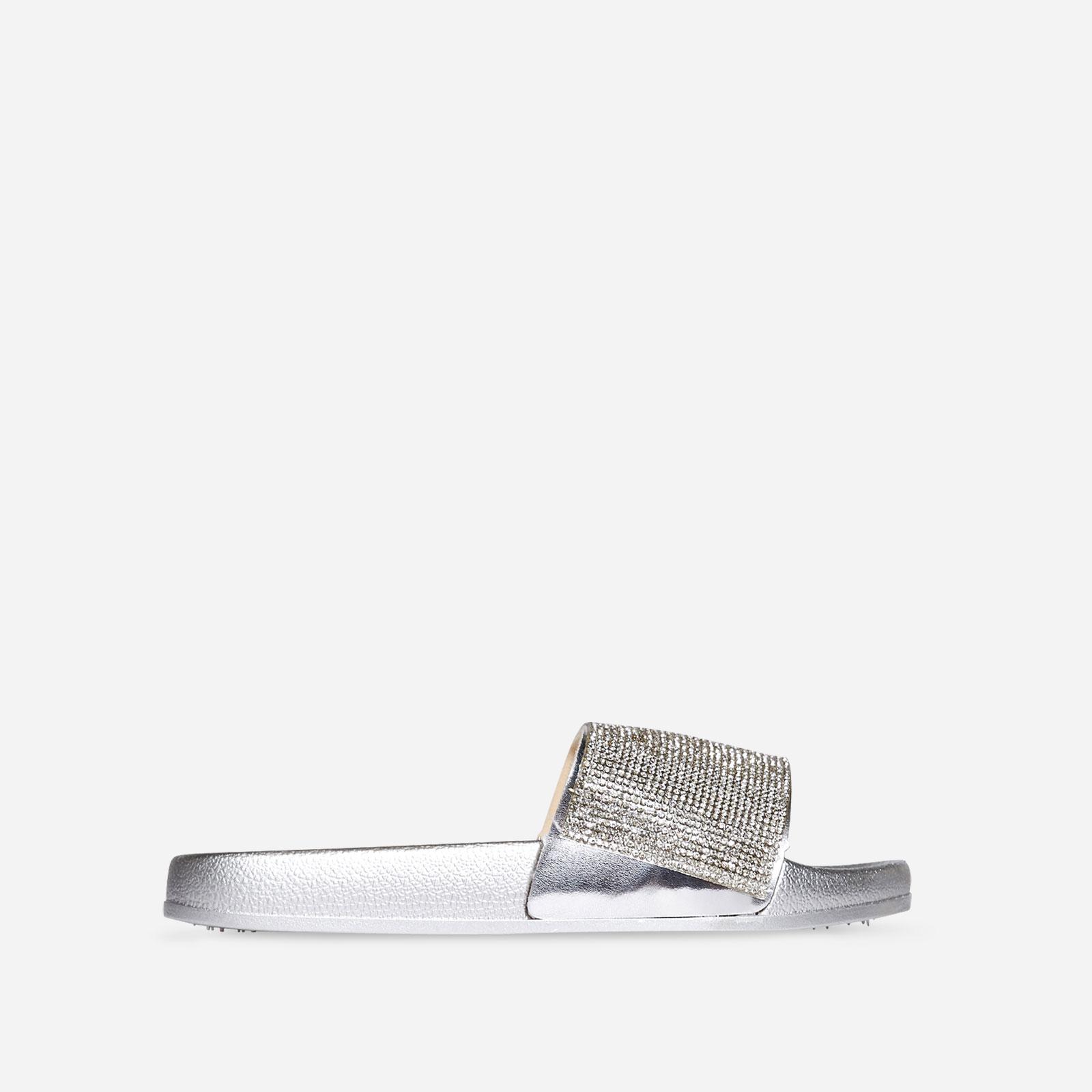 Vibe Diamante Slider In Silver Rubber Image 1