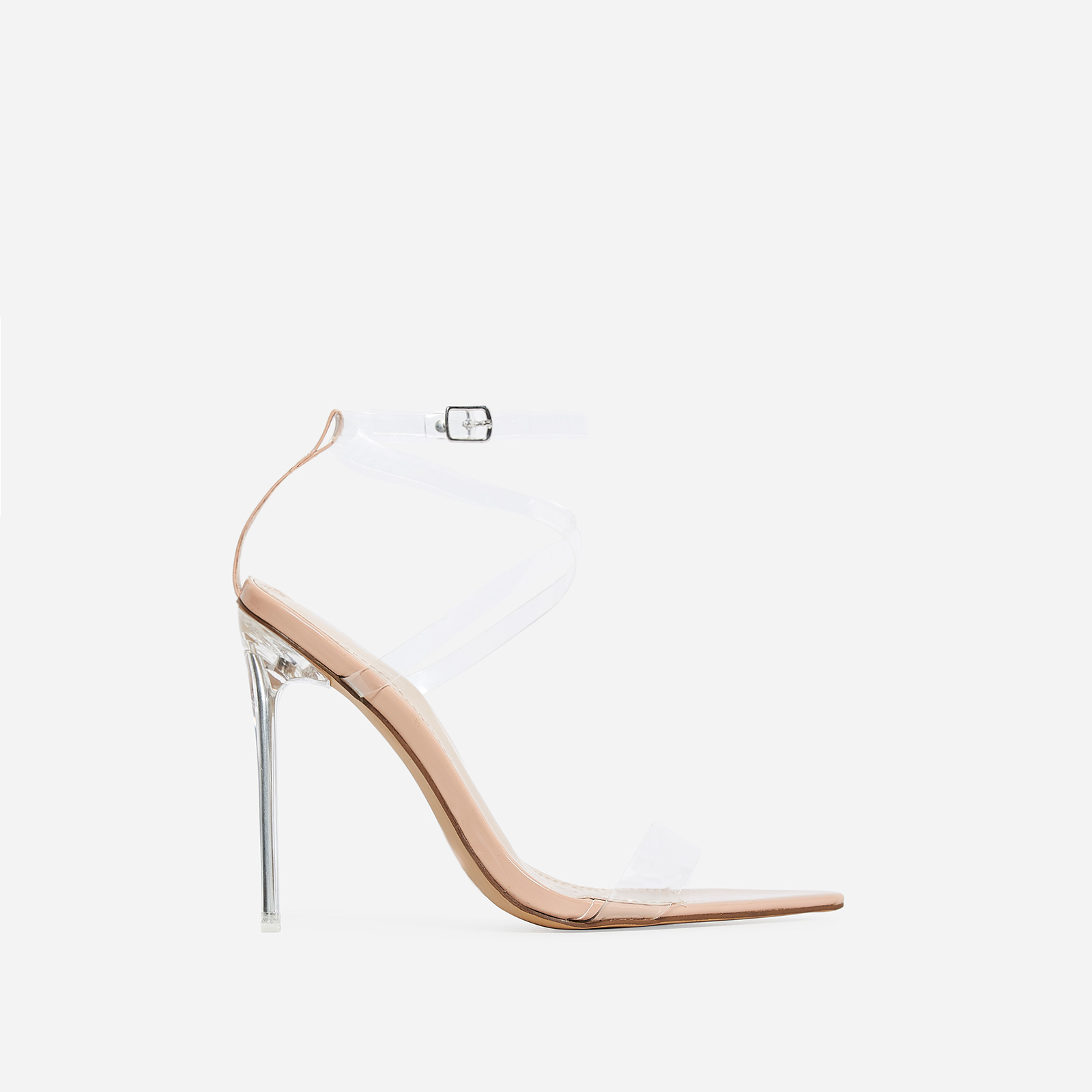 Skin Barely There Clear Perspex Heel In Nude Patent