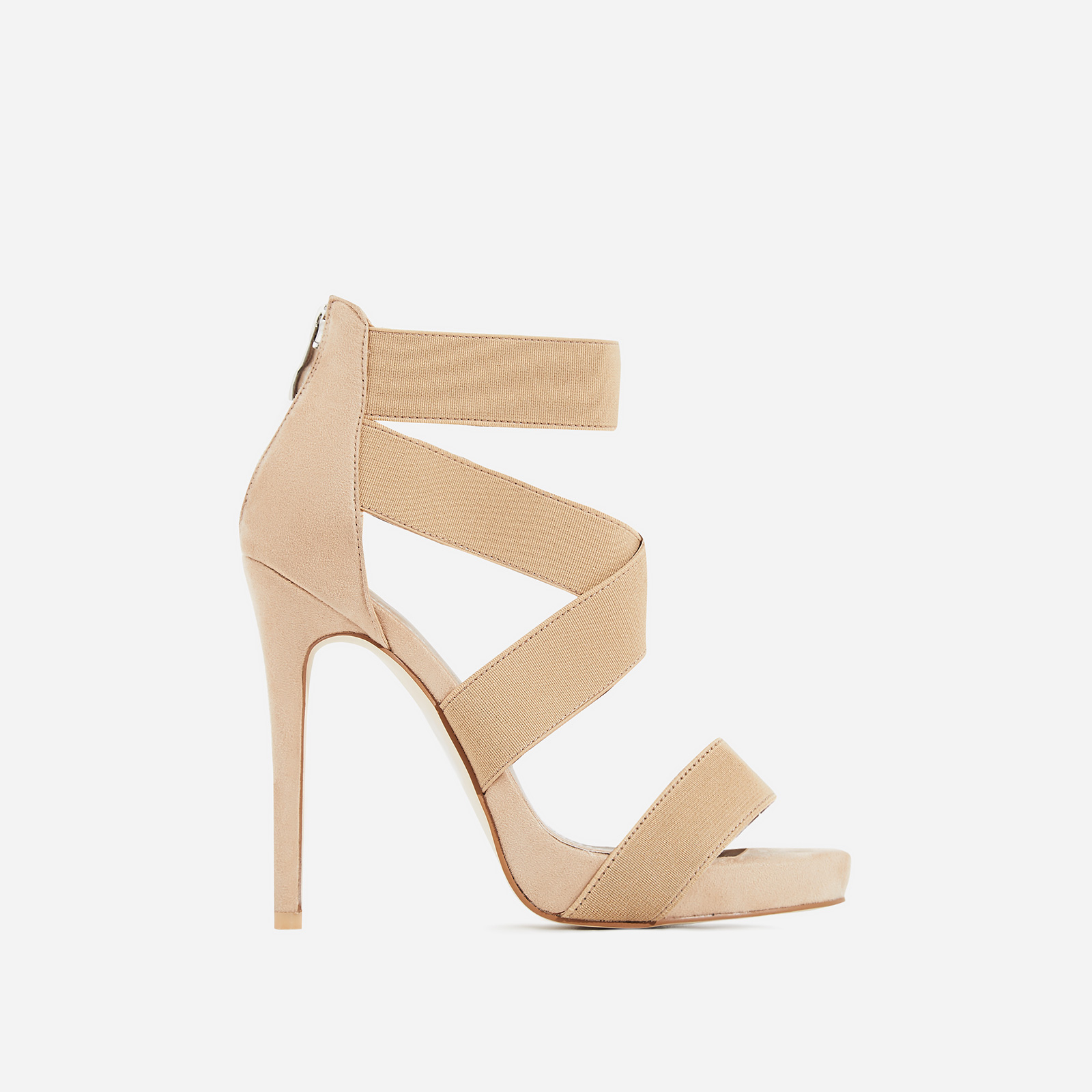 Skylar Elastic Cross Over Heel In Nude Faux Suede