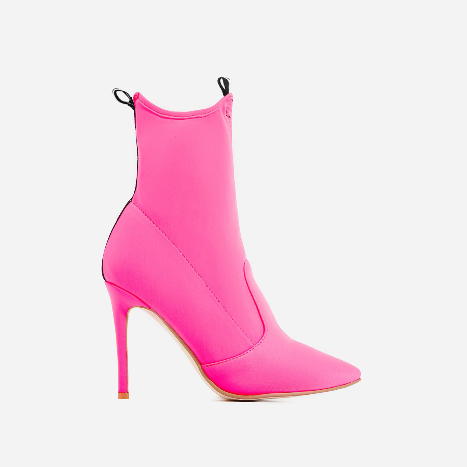 Kiko Pointed Toe Ankle Sock Boot In Fuchsia Lycra