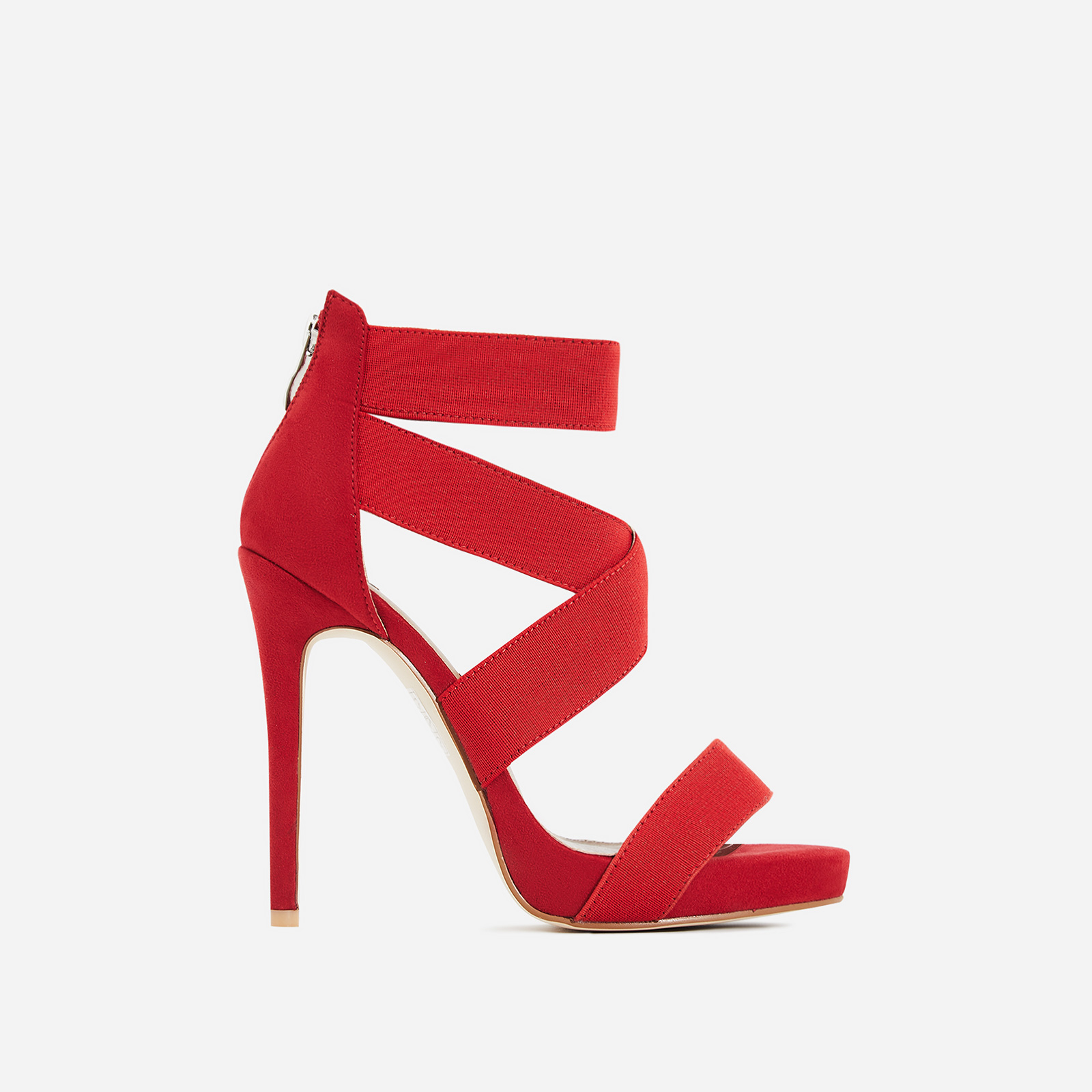 Skylar Elastic Cross Over Heel In Red Faux Suede