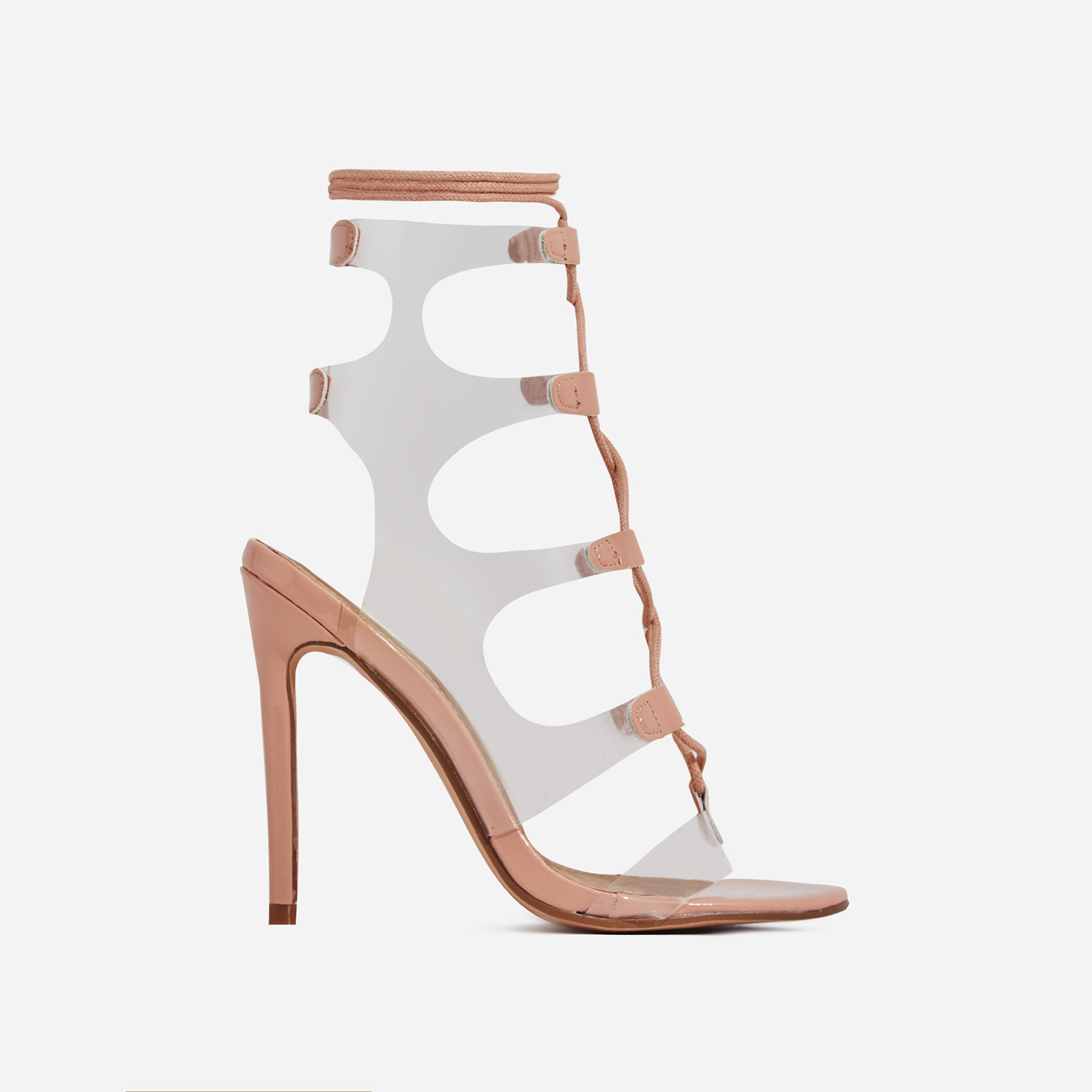 Solstice Lace Up Perspex Heel In Nude Patent