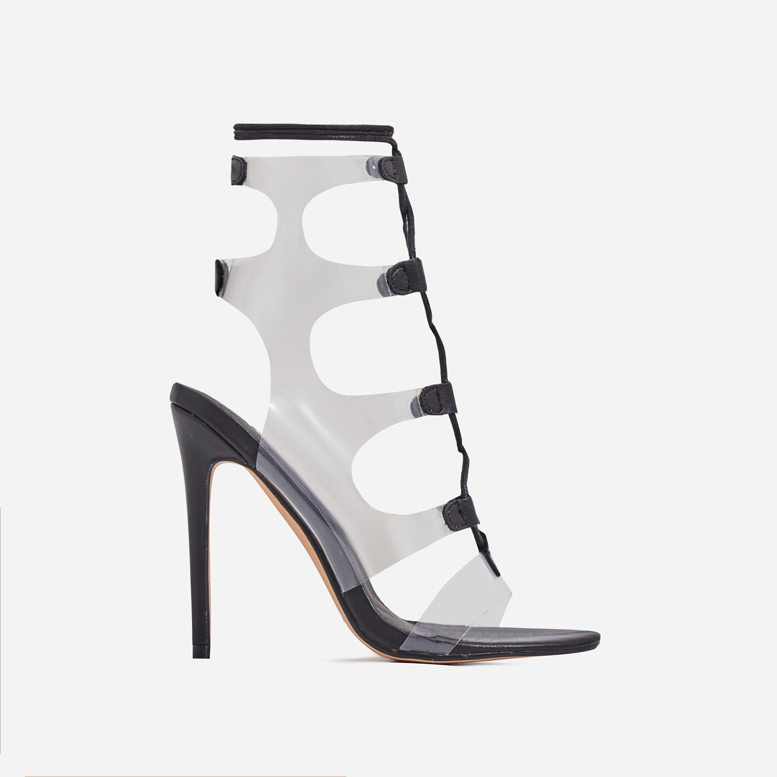 Solstice Lace Up Perspex Heel In Black Faux Leather