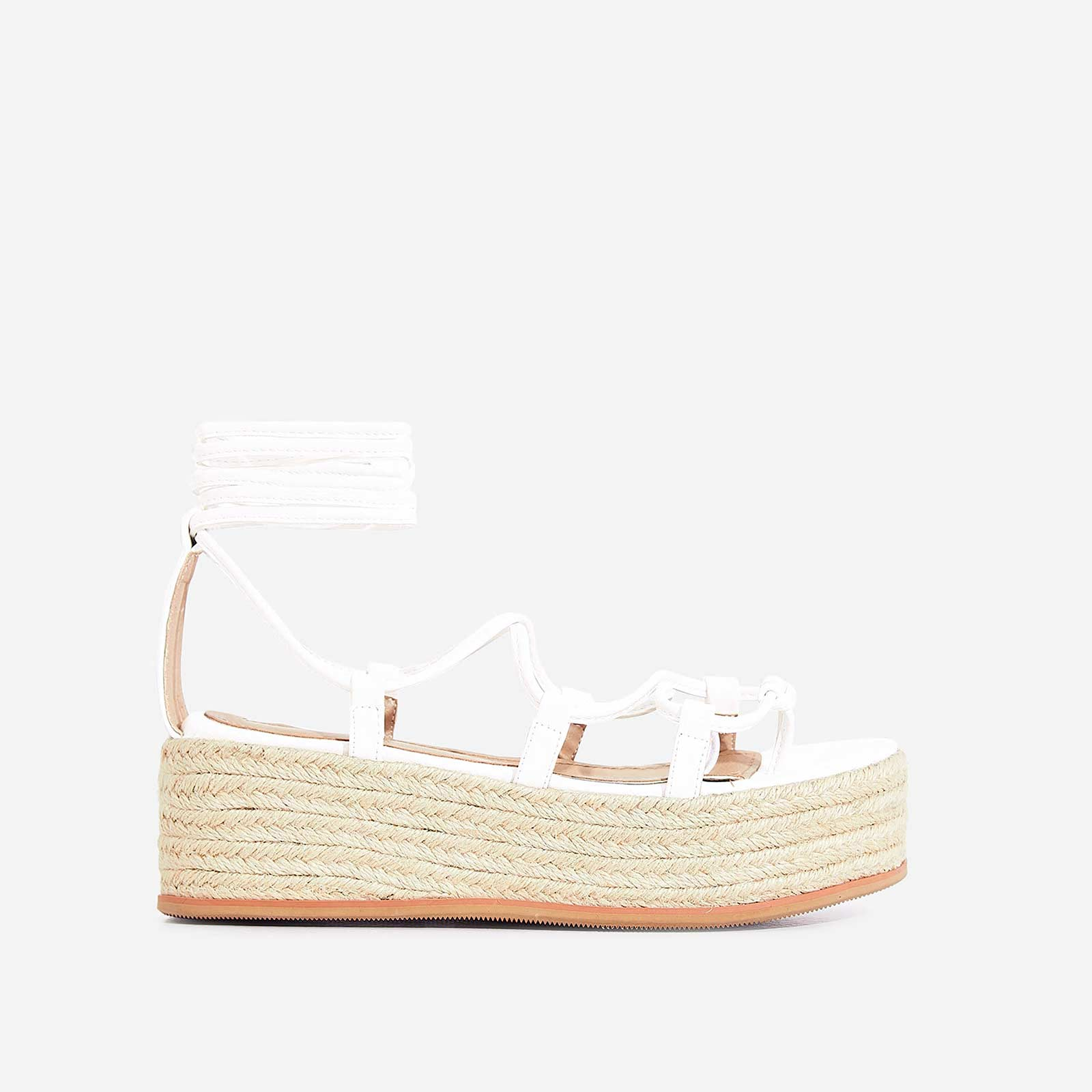 Sophina Lace Up Espadrille Flatform Sandal In White Faux Leather