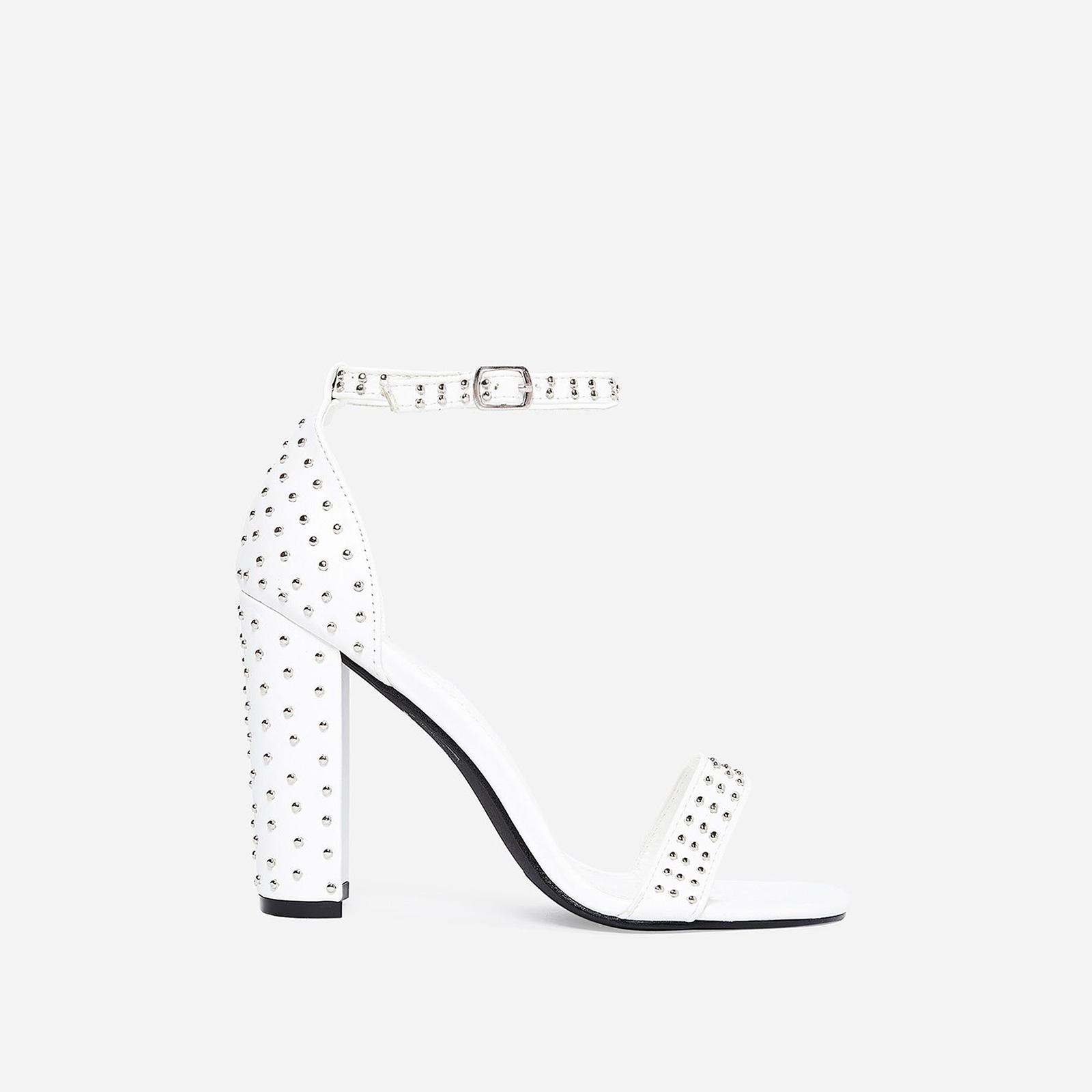 Stellar Studded Detail Block Heel In White Faux Leather