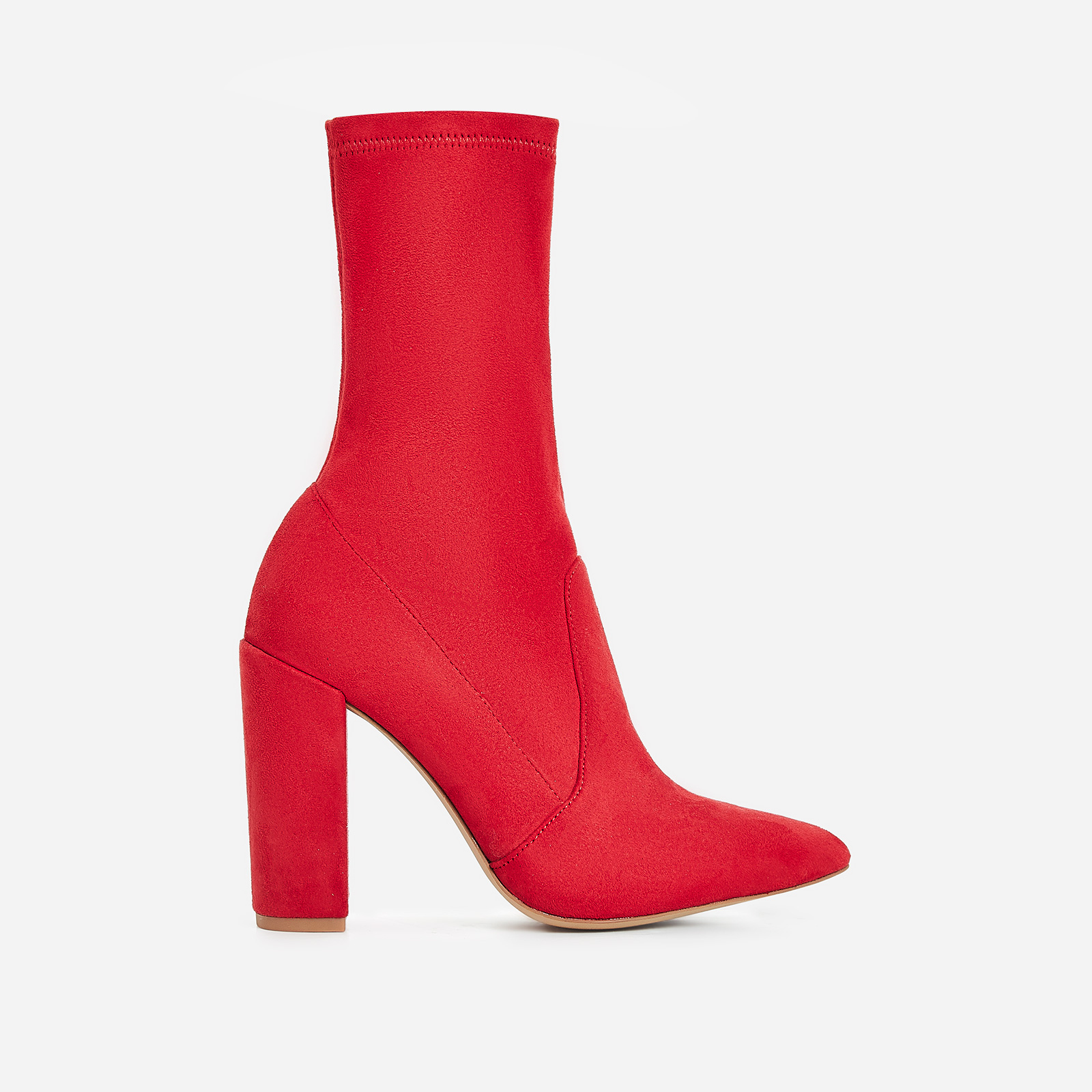 Stephanie Block Heel Ankle Sock Boot In Red Faux Suede