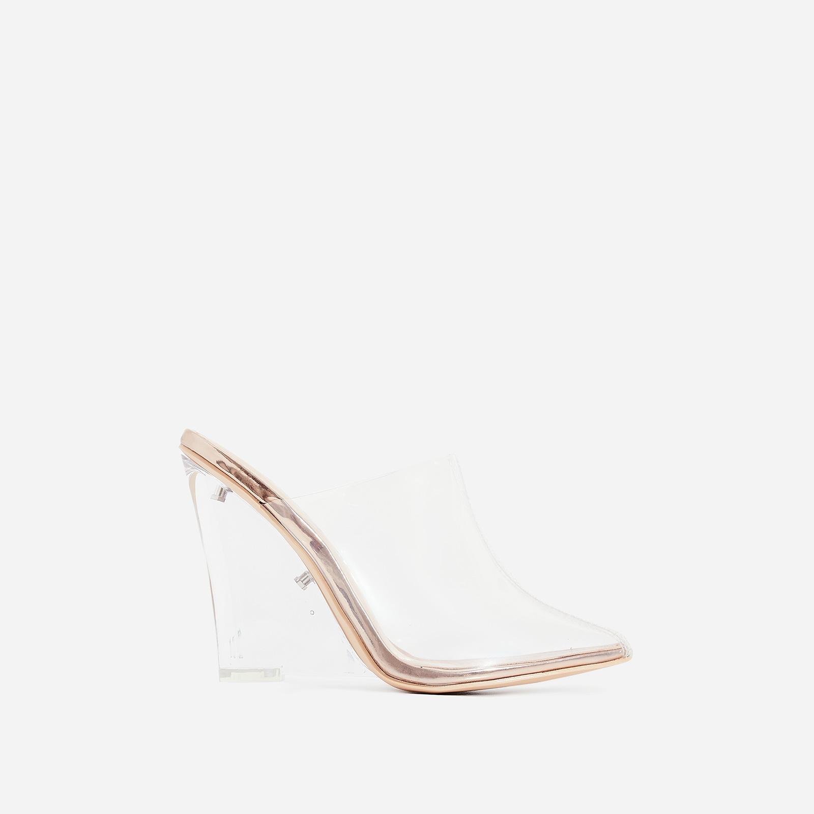 Sugar Perspex Wedge Heel Mule In Rose Gold Patent