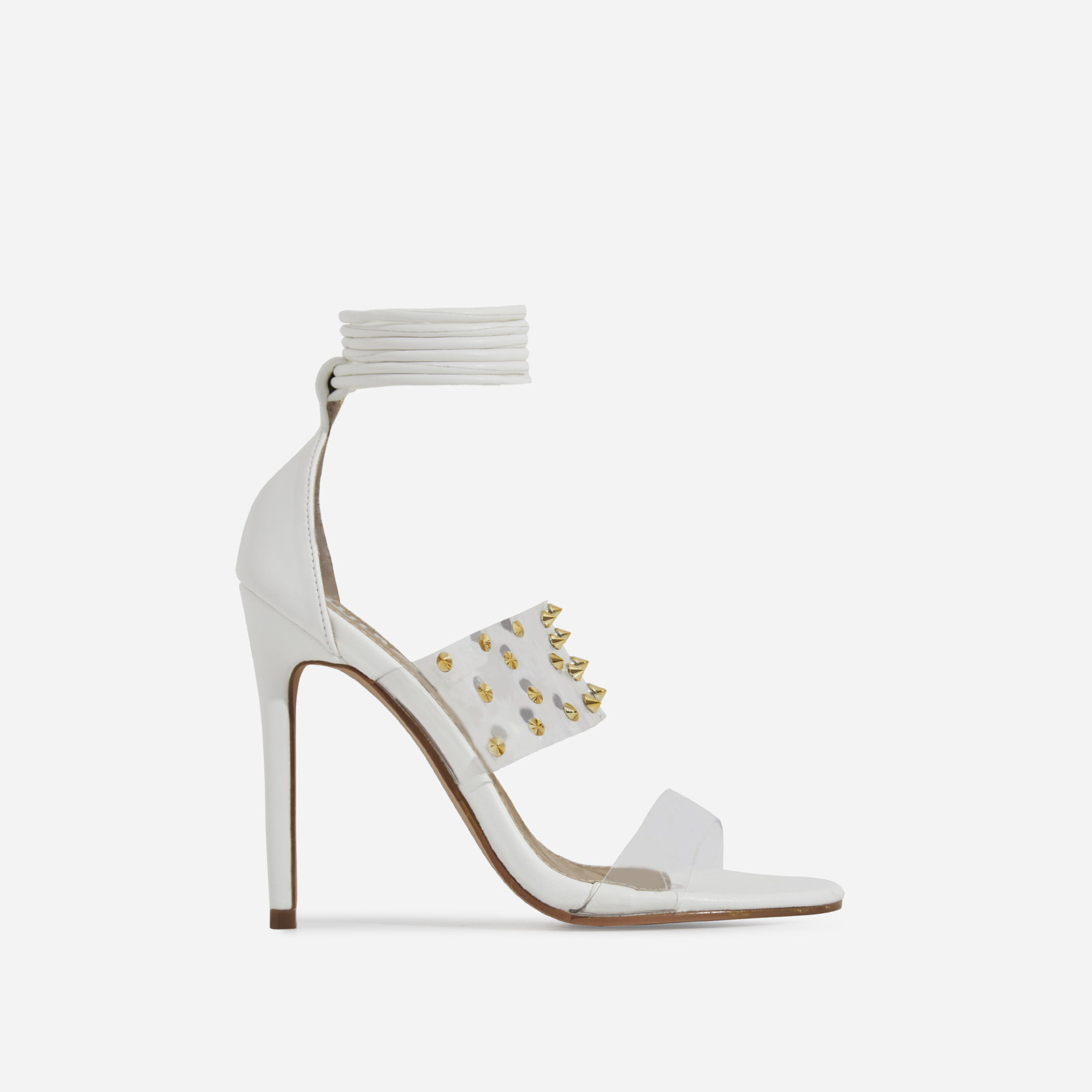 Suvi Studded Detail Lace Up Perspex Heel In White Faux Leather