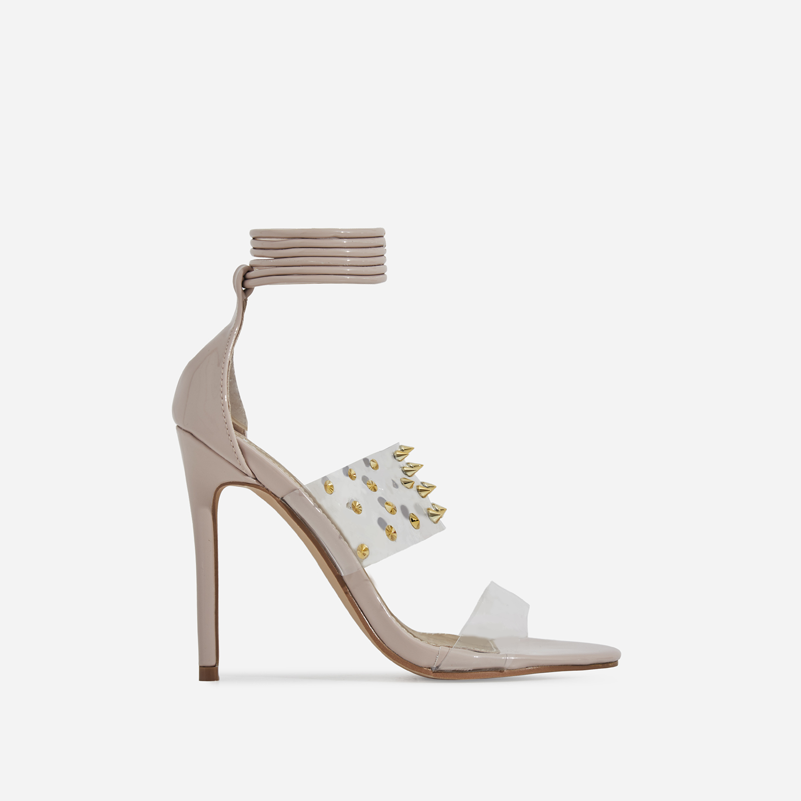 Suvi Studded Detail Lace Up Perspex Heel In Nude Patent