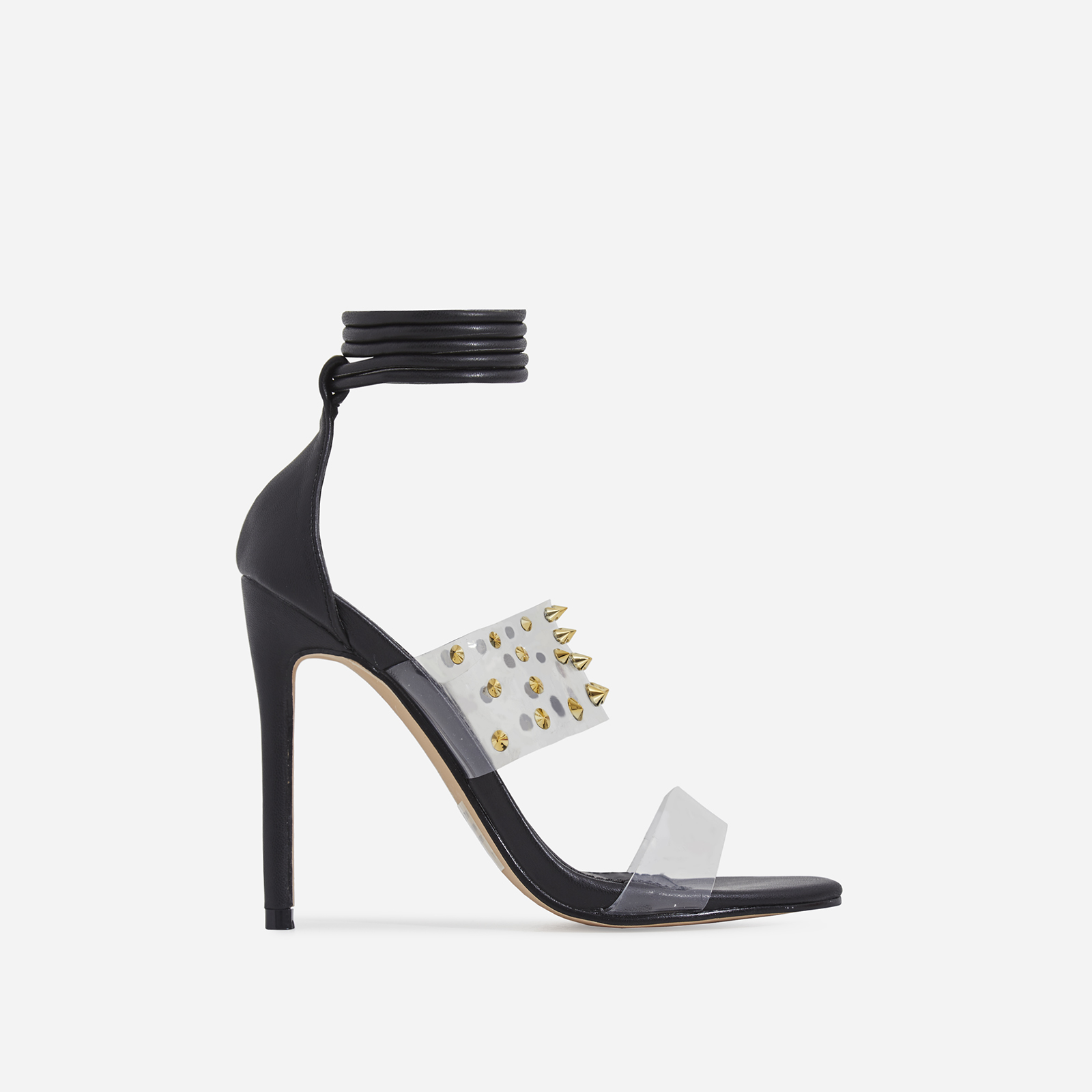 Suvi Studded Detail Lace Up Perspex Heel In Black Faux Leather