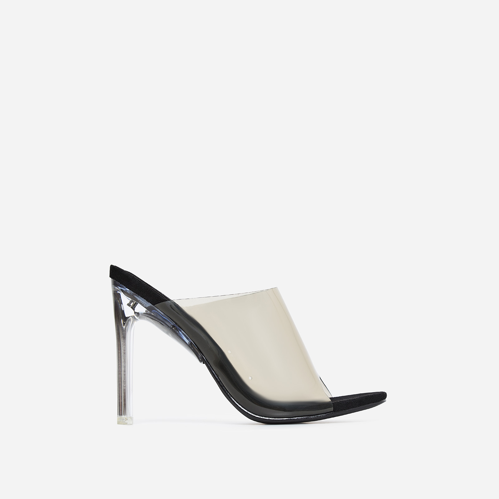 Theory Peep Toe Flat Perspex Heel Mule In Black Faux Suede