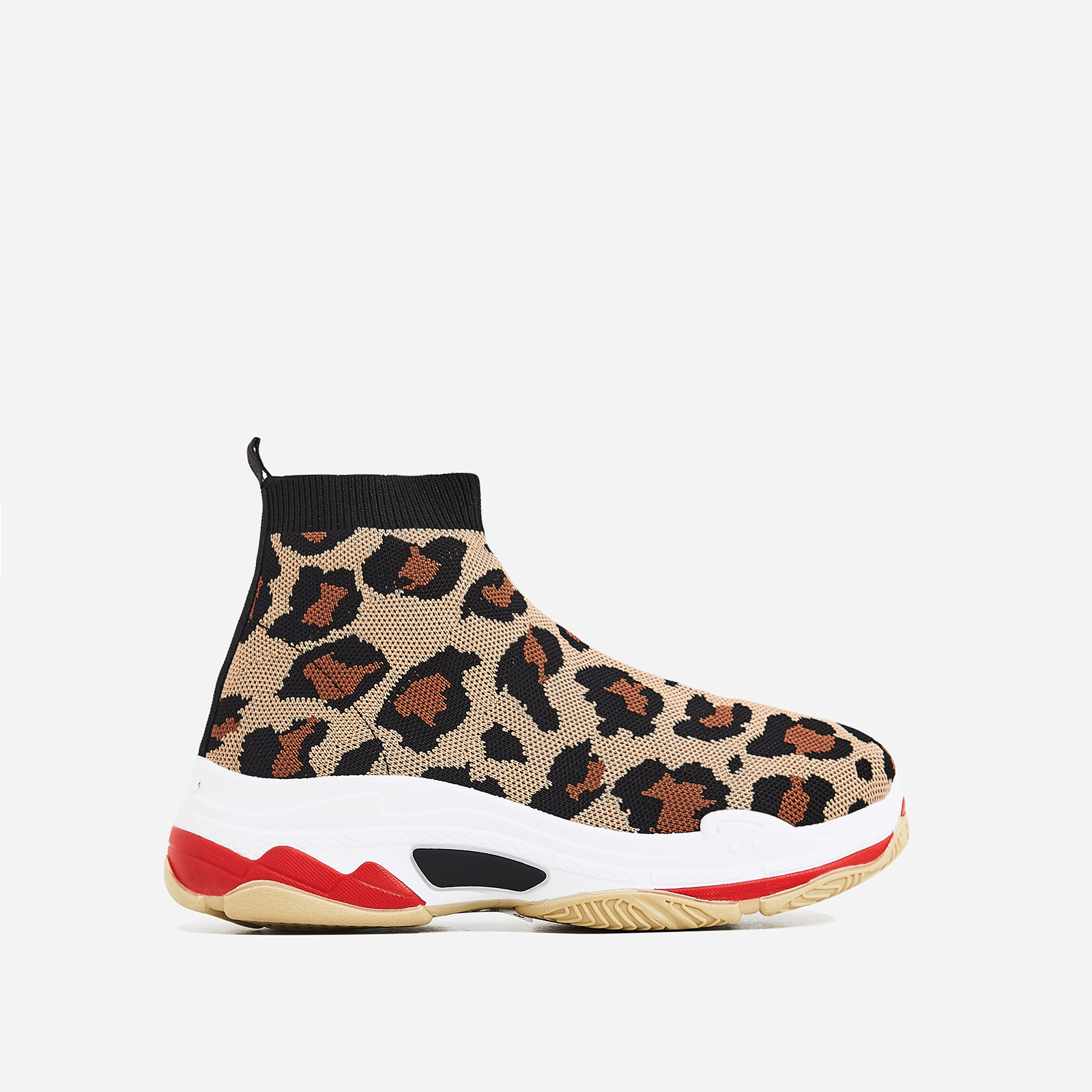 Tidal Chunky Sole Trainer In Leopard Knit